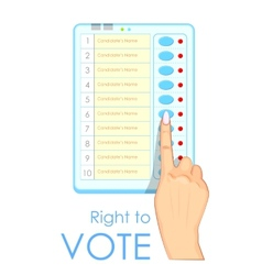 Hand pressing Electronic Voting Machine vector