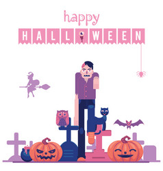 happy halloween congratulation banner with zombie vector image