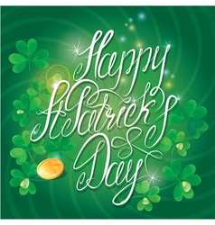Happy st patricks day shamrock and golden coin vector