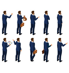 Isometrics set of men in a suit rear view vector