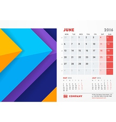 June 2016 Desk Calendar for 2016 Year Stationery vector