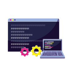 Laptop and website with data program code vector