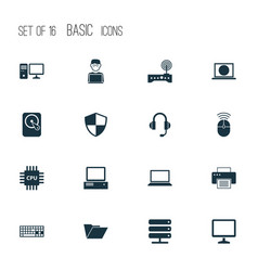 Laptop icons set collection of monitor printing vector