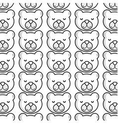 Line cute teddy bear head background vector