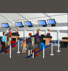 lining up at the check-in counter in the airport vector image