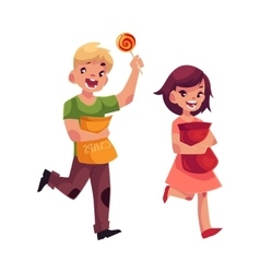 Little boy and girl holding packs of chips and vector image