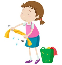 Little girl squeezing clothes vector