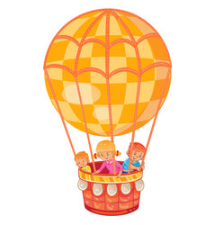 little kids fly on the big air balloon vector image