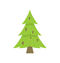Lonely green christmas tree iisolated on white vector