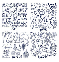 Lot of black flowers hearts trees and font sample vector