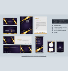 Luxury purple stationery mock up set and visual vector