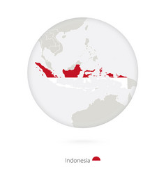 Map indonesia and national flag in a circle vector