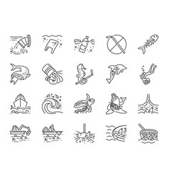 marine pollution icon set vector image