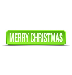 merry christmas green 3d realistic square isolated vector image
