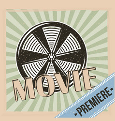 movie premiere reel film and stripes background vector image