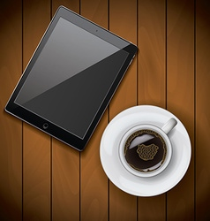 New realistic tablet mockup template with coffee vector