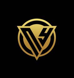 Ny logo monogram with triangle shape and circle vector