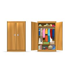 Open closets cupboard wardrobe vector