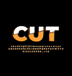 Orange and white cut alphabet or letter text vector