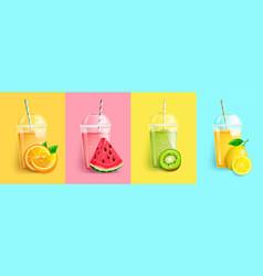 Orange watermelon kiwi lemon smoothie set vector