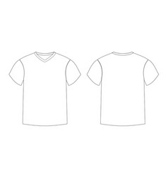 Outline countur male t-shirt template v-neck vector