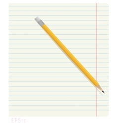 Pencil lying on notebook sheet in line with the vector