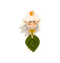 Princess of the forest elves with white hair and vector