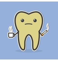 Sad dark tooth with coffee and cigarette vector