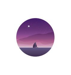 Sailing yacht on horizon landscape sunset vector