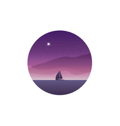 Sailing yacht on the horizon landscape sunset vector
