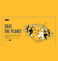 Save planet earth day celebration landing page vector