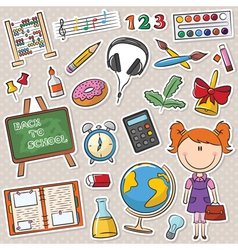 school girl with different education tools vector image