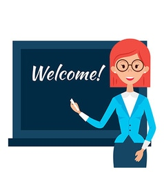 School Teacher with Welcome Word over Chalkboard vector image