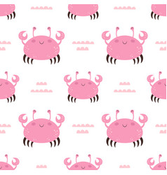 seamless pattern with cartoon crab on white vector image
