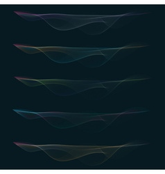 Set of colorful smoke waves vector