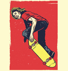 skater act on skateboard in hand drawing style vector image