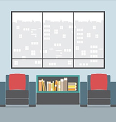 Sofas With Bookcase In Front Of Wide Glass Window vector image