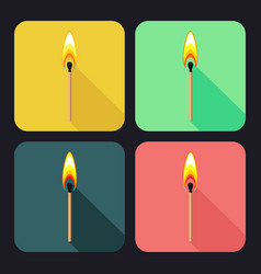 Square icons with burning match on dark background vector