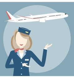 Stewardess and Airplane vector