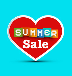 Summer sale with red heart vector
