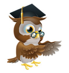 Teacher owl pointing vector
