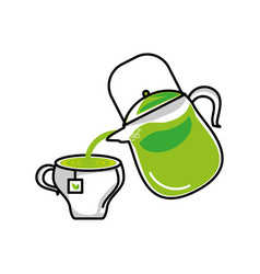 Teapot kitchen with tea herb cup vector