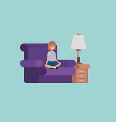 Teenager girl sitting in livingroom vector