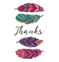 Thanks card with ethnic decorative vector image