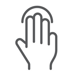 triple tap line icon gesture and hand click sign vector image
