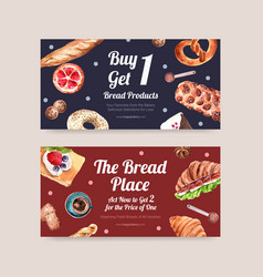 Twitter template design with bakery for social vector