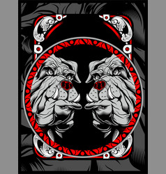 two bulldog hand draw vector image