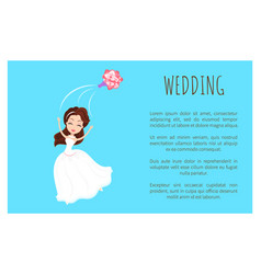 Wedding card bride in white dress throwing bouquet vector