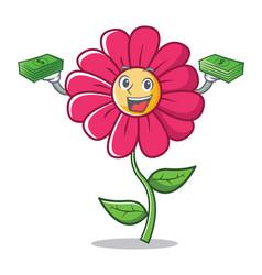 With money pink flower character cartoon vector