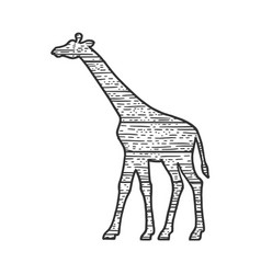 wooden giraffe animal silhouette sketch vector image
